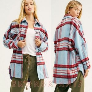 Free People Down For You Plaid Shirt Jacket  NEW